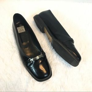 Joan and David black shiny leather loafers square